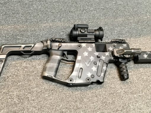 KRISS VECTOR STARS AND STRIPES GREYSCALE CUSTOM CERAKOTE