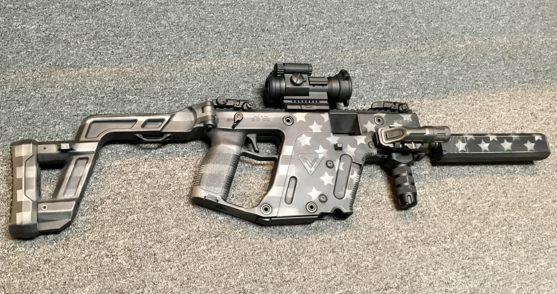 kriss vector stars and stripes greyscale custom cerakote foley defense